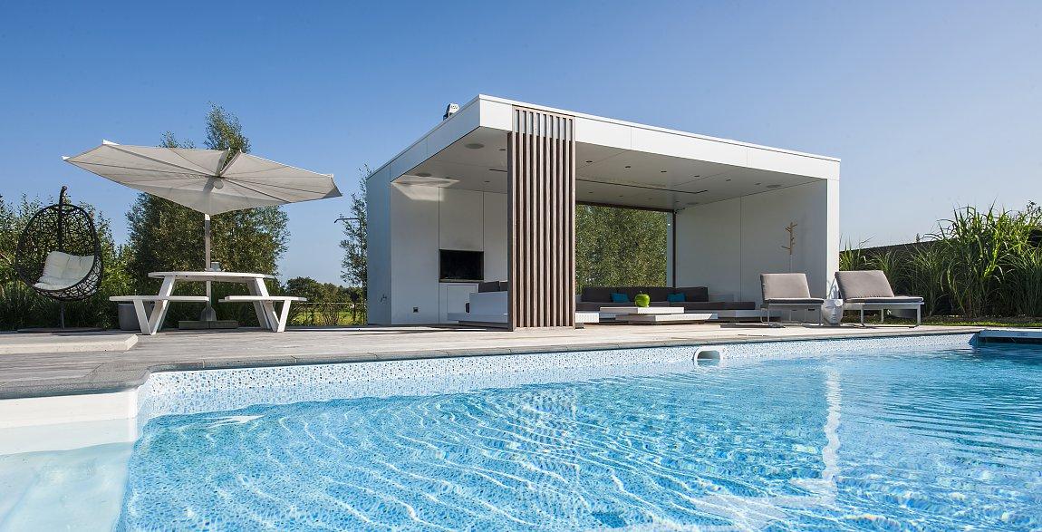 modern poolhouse in trespa bogarden. Black Bedroom Furniture Sets. Home Design Ideas